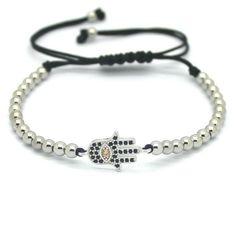 Men/'s Tressé Macrame bracelet 18kt Plaqué Or Rose Leopard Head Zircon Beads