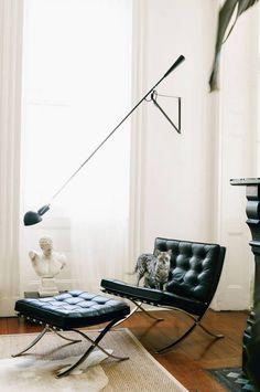 White living room vignette + Jean-Luc!