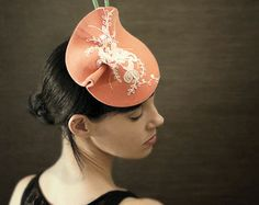 Sculptural Pink Felt Fascinator With White Lace and Beaded Peacock Feathers - Can-Can Hat - Made to Order