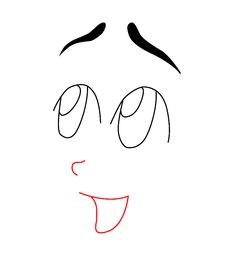 Next, draw a small curved line for the nose, and give your face a fairly wide open mouth.