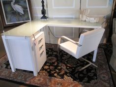 """Price: $584.99  Item #: 36766 Contemporary, L-shaped glass top desk with file cabinet and chair. The desk measures 61""""long x 49""""deep x 30""""high."""