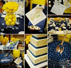 Blue and yellow wedding decor - love the idea of using lemons as part of the decor