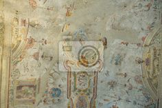 Fototapete Fresko auf Zeit, Hintergrund mit Textur der alten Mauer