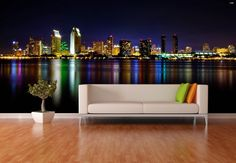 San Diego Skyline at Night Repositionable Wall Mural by FotoWalls USA. Custom Wall Paper. Find it on Etsy! https://www.etsy.com/listing/204779014/san-diego-skyline-at-night?ref=pr_shop