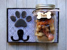 Dog leash holder with treat jar. Dog treat by KingsBenchCreations