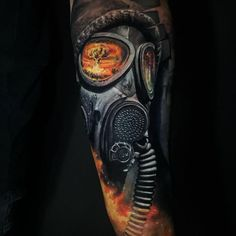 Tattoo photo - Gas mask tattoo by Chris Showstoppr