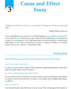 teaching cause effect essay Students explore the nature and structure of expository texts that focus on cause and effect and apply what essay map: this online for teaching expository.