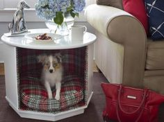 Pet friendly and Fully functional side table. Re-purposing an end table into a pet bed.