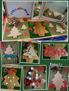 "Number fun with wooden Christmas trees - from Rachel ("",)"