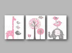 Lot de 3 illustrations pour chambre d'enfant et bebe, art decor , rose et gris