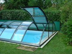 A underground swimming pool with a lid