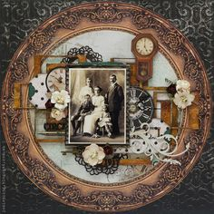 Circa 1917 ~ Stunning heritage page with a layered vintage clock face and flower frame.