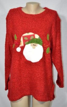 Red-Chunky-Ugly-Christmas-Sweater-Approx-1X-Fleece-Santa-Holly-Appliques-Berries