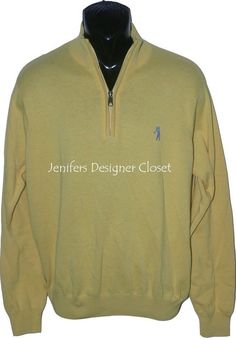 New BOBBY JONES Golf pullover 1/4 zip XL yellow men's monogram logo sweater