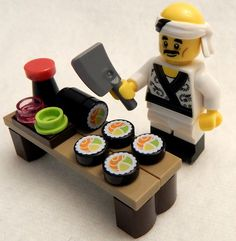 Lego Sushi Lot With Chef Minifig Figure Minifigure Ninjago 71019 Salmon Roll for sale online Minecraft Zombie, Lego Minecraft, Minifigura Lego, Lego Food, Lego Craft, Lego Batman, Minecraft Buildings, Lego Technic, Lego Minifigure