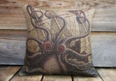 Octopus Pillow Cover Throw Pillow Nautical by TheWatsonShop, $46.00