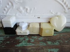 Vintage LOT of 7 Ring Jewelry Celluloid Plastic Boxes Heart Shaped by Holliezhobbiez on Etsy