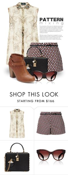 """Head-to-Toe Pattern Mixing 2268"" by boxthoughts ❤ liked on Polyvore featuring Alena Akhmadullina, Loveless, Dolce&Gabbana, Oliver Peoples, LC Lauren Conrad and patternmixing"
