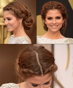 Maria Menounos with beautiful braids at the Oscars 2014 Red Carpet Looks, Updos, Oscars 2014, Maria Menounos, Beautiful Braids, Hair Accessories, Hair Makeup, Headbands, Hair Beauty