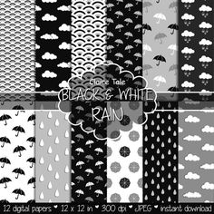 "Rain digital paper: ""BLACK & WHITE RAIN"" rainy patterns with umbrellas, raindrops, clouds, rainbow scale in black, white, grey"