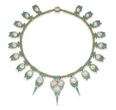 A Diamond and Enamel Necklace
