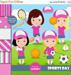 70% OFF SALE Sport girls clipart, Tennis clipart, Girls sport, Basketball clipart, Baseball clipart, Digital papers, Commercial use - CL146 by PremiumClipart on Etsy
