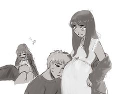 """yuuba: """"Headcanon: Naruto is always checking the baby after work, but he is always too tired to keep his eyes open , so he falls asleep on Hinata's lap right beside his unborn, while she is singing a..."""