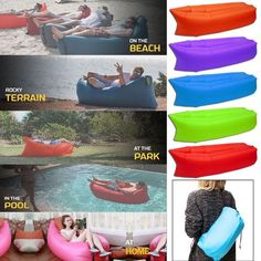 New Lazy Inflatable Couch Air Sleeping Sofa Lounger Camping Bed Portable Bag OZ