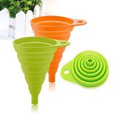 1Pcs Portable Silicone Gel Practical Collapsible Foldable Funnel Hopper Kitchen Tool Gadget Random