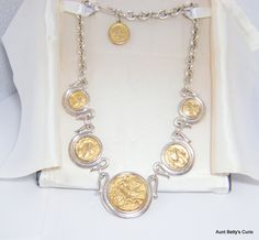 Spectacular Vintage 1980's Danecraft necklace.  Vittorio by Danecraft solid construction reproduction Graeco Roman coins set into bezels. by AuntBettysCurio on Etsy