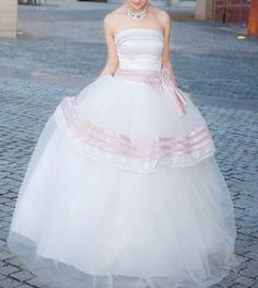 pink details wedding dress