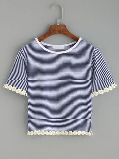 Blue Striped Daisy Crochet Trim T-shirt