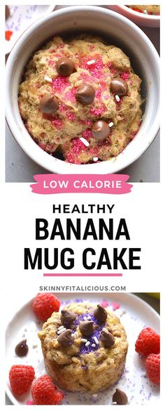 This Healthy Banana Mug Cake is low calorie and made in minutes in the microwave! Low Calorie Mug Cake, Healthy Low Calorie Meals, Low Calorie Desserts, Low Calorie Recipes, Healthy Desserts, Healthy Cooking, Healthy Eating, Vegan Mug Cakes, Mug Cake Healthy