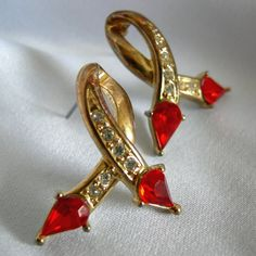 Bright Red Stone Rhinestone and Gold Tone by RetrofitGallery