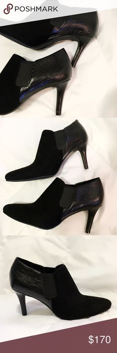 Cole Haan Black Suede/Leather Ankle Booties These are in great condition! Very few signs of wear on the bottom of the shoe. Side elastic panels with black suede on the front half and leather on the back half. Cole Haan Shoes Ankle Boots & Booties