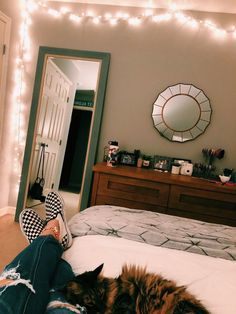 the most achievable bedroom look i think i can pull off the dark brown dresser is the color i want to pain mine and i like the frame of the body mirror and the circle mirror and obvi the lights are a nice touch Dream Rooms, Dream Bedroom, Girls Bedroom, Bedrooms, White Bedroom, My New Room, My Room, Bedroom Inspo, Bedroom Decor