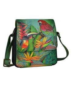 Loving this Tropical Bliss Hand-Painted Leather Triple-Compartment Crossbody Bag on #zulily! #zulilyfinds