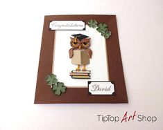 This is high quality handmade card in quilling technique. Occasion: High school graduation, college graduation, etc. Product information: Its decorated with quilled owl with graduation cap and a book and four-leaved clovers. The size is 14x17cm (~5.5x6.7 inches). The card has a