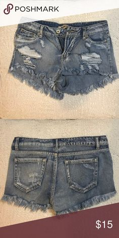 destroyed cut off jean shorts size 3 shorts mid to low rise and can be dressed up or dressed down! marked brandy for views Brandy Melville Shorts Jean Shorts