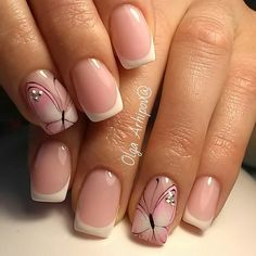 Butterfly Pattern Nail white and pink style with a butterfly pattern is utterly combined with the squoval style of medium nails. This exciting manicure is that the best plan for romantic. Butterfly Nail Designs, Butterfly Nail Art, Pretty Nail Designs, Nail Art Designs, Fancy Nails, Cute Nails, Pretty Nails, French Tip Nails, Nail French