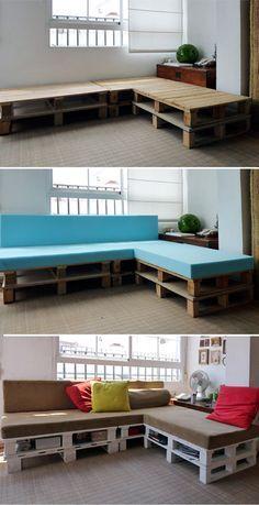 Faça Você Mesmo - Sofás feitos com paletes de madeira                                                                                                                                                      Mais