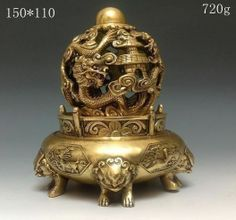 Chinese Bronze Dragon Incense Burner&Lid w Dragon