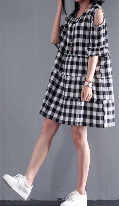 Loose causal plaid cotton sundress plus size summer dresses maternity dress