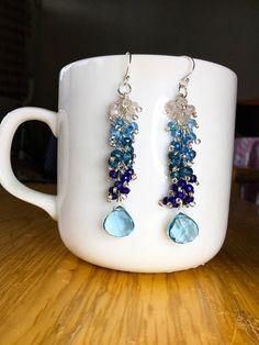 Blue ombre, cluster earrings
