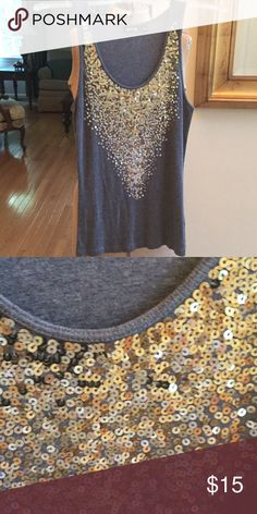 Gold sequined heathered grey tank. Apt. 9 size M So pretty heathered grey tank. The sequins are matte gold and so gorgeous in person. Apt 9 size M Apt. 9 Tops Tank Tops