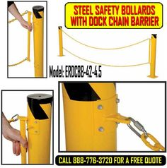 Steel Safety Bollards With Dock Chain Barrier Factory Architecture, Double Chain, Car Parking, Charts, Mall, Safety, Strength, Environment, Construction