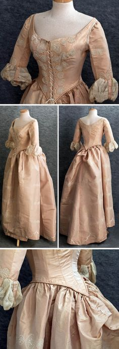 Centennial ball gown, ca. 1876. Many party guests wore Colonial attire. Old silk in storage was remodeled into new clothes.This is a mix: half 18th century half Victorian. Bodice, reconstructed with Victorian boning petersham, retains original sleeves. Petticoat was remade into bustle shape. Pale peach taffeta hand-embroidered with ivory silk floss medallions. Some of them were cut out of extra fabric and appliquéd as borders around the neckline and sleeves. Vintage Textile