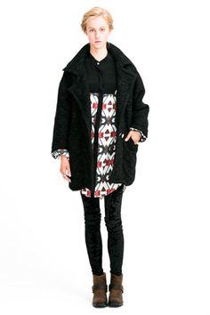 Texture Cocoon Coat, Silk Print Dress & Velvet Leggings by GretchenJonesNYC.com, jewelry from RUBYplusGEORGE.com Archive #NYFW #Fashion