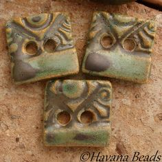 METALLIC BUTTONS - 3 Square Ceramic Two Hole Buttons - Havana Beads - $15.00
