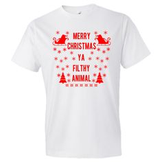 Merry Christmas Ya Filthy Animal Home Alone Christmas Personalized T-Shirt - White. $17.99